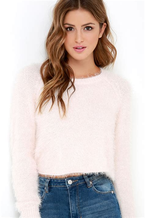 light pink sweater light pink sweater fuzzy sweater cropped sweater