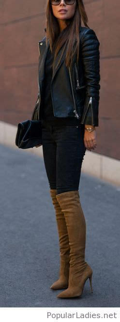 All black outfit with brown boots