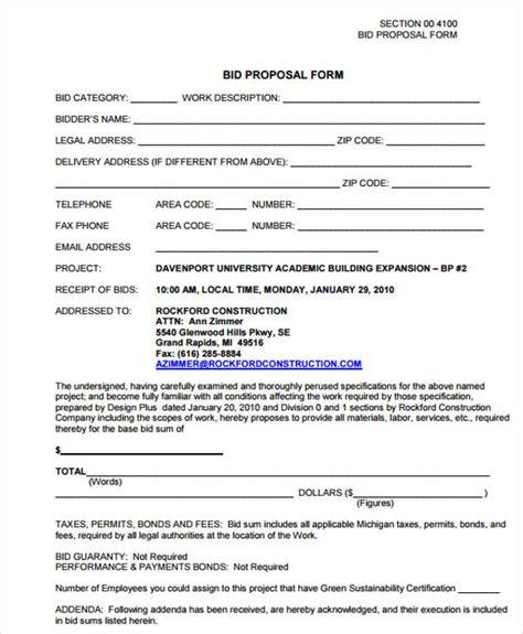 7 free contractor bid form exles pdf exles