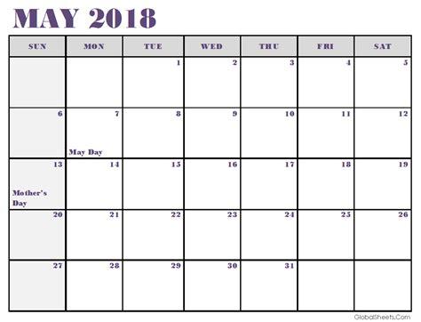 2018 Calendar Template Excel May 2018 Calendar Excel Template