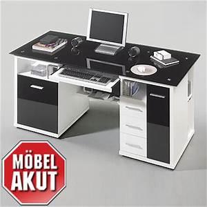 Schreibtisch Weiß Schwarz : schreibtisch media b rotisch wei schwarz glas ebay ~ Buech-reservation.com Haus und Dekorationen