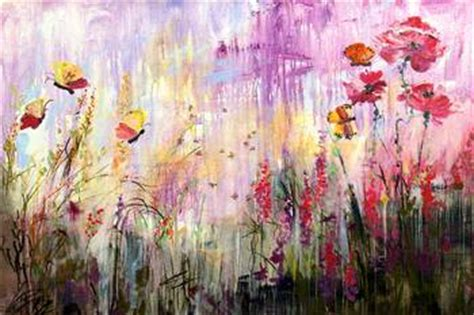 wildflowers bees  butterflies painting ginette