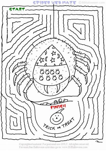Maze Spider Web Halloween Printout Coloring Fun