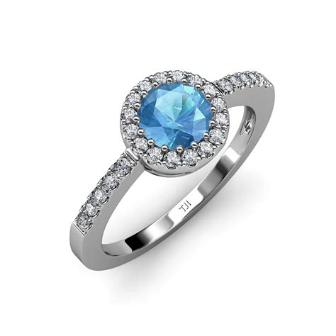 blue topaz and si2 i1 g h halo engagement ring 1 59 ct tw in 14k gold ebay