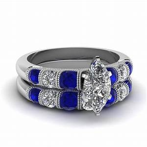 marquise milgrain bar diamond wedding set with sapphire in With sapphire wedding ring sets