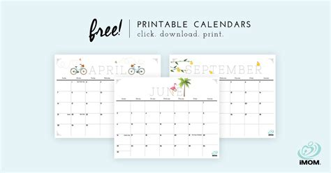 crafty  cute printable calendar  moms imom