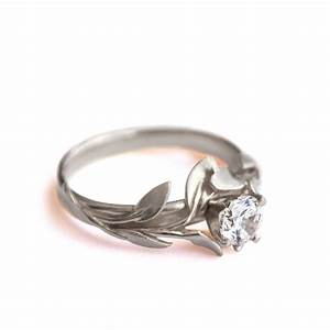 leaves engagement ring no4 18k white gold by With leaf wedding ring