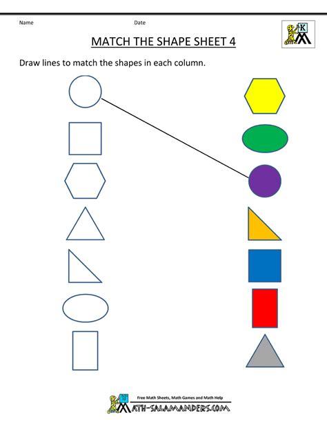 free shape worksheets kindergarten 672 | free shape worksheets match the shapes 4