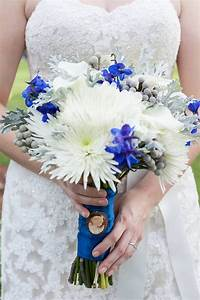 White, grey, and blue bouquet of spider mums, mini callas ...