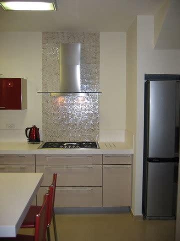 iridescent tile backsplash bathroom contemporary