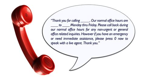 Voicemail greeting for doctors office m4hsunfo