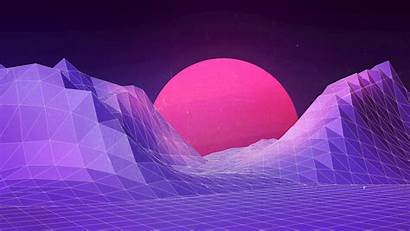 Techno Purple Landscape 1980s Desktop Wallpapers Backgrounds