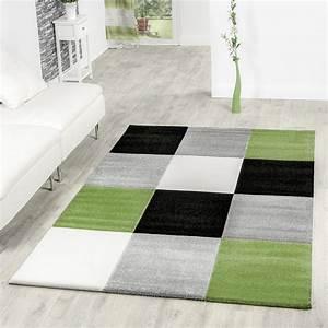 Teppich Grün Grau : designer teppich preiswert lugo modern mit karo muster gr n grau schwarz creme moderne teppiche ~ Markanthonyermac.com Haus und Dekorationen