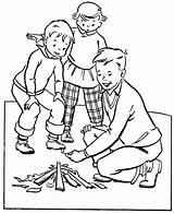 Coloring Camping Cabin Printable Cartoon sketch template