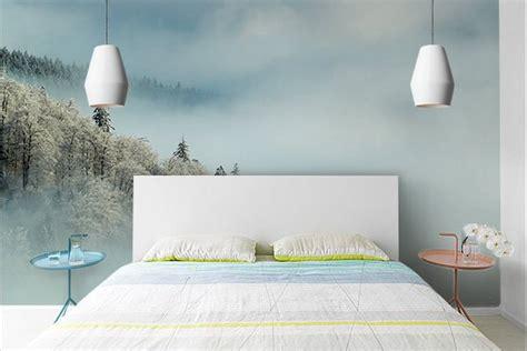 papier peint design chambre papier peint chambre forêt enneigée izoa
