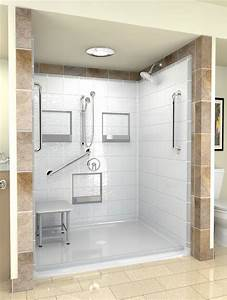 A unique handicap shower and hydrotherapy step in bathtub for How big is a bathroom stall