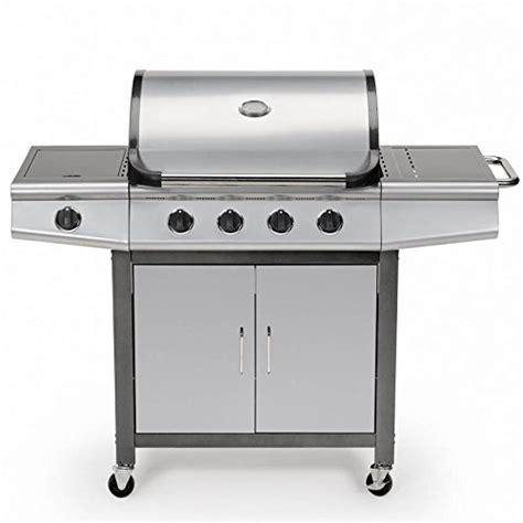 gasgrill bbq grillwagen 4 edelstahl brenner gas grill seitenkocher grill silber grau neu gas