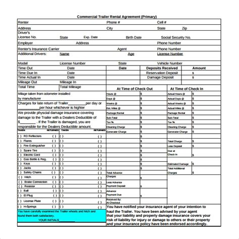 trailer rental agreement templates  ms word