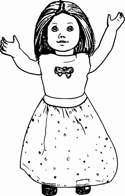 Coloring Doll American Pages Dolls Printable Bitty
