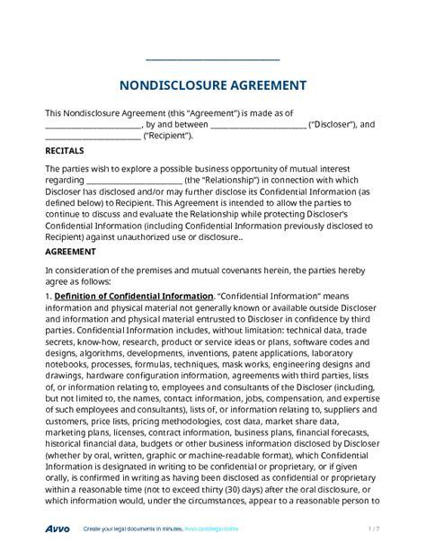 nondisclsoure agreement nda