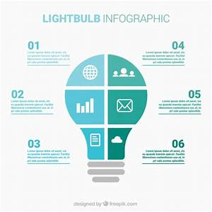 Lightbulb Infographic In A Flat Style Vector