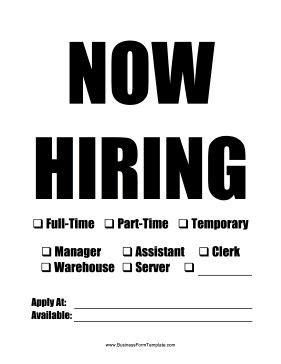 printable  hiring sign   printed