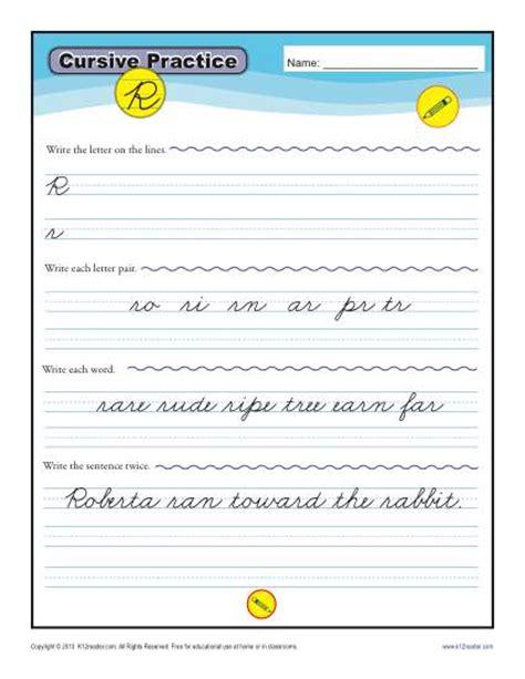 cursive r letter r worksheets for handwriting practice