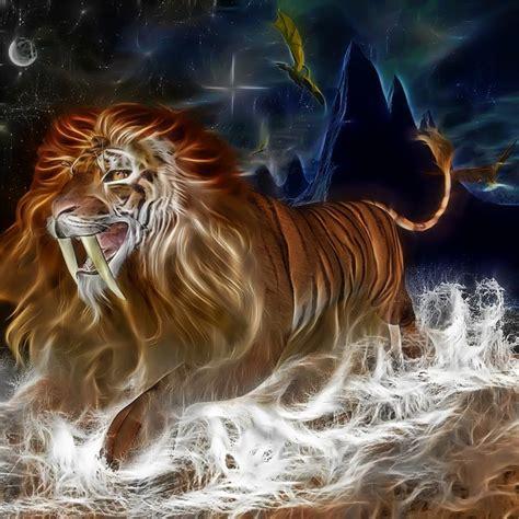illustration lion tiger cat sky river rocks