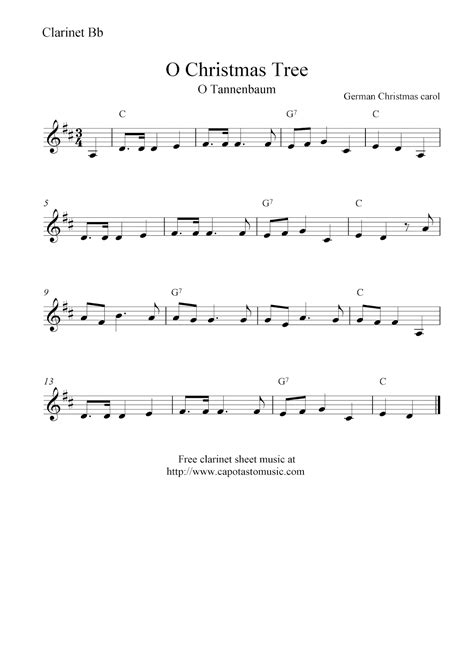 Available, in downloadable pdf format. O Christmas Tree (O Tannenbaum), free Christmas clarinet sheet music notes