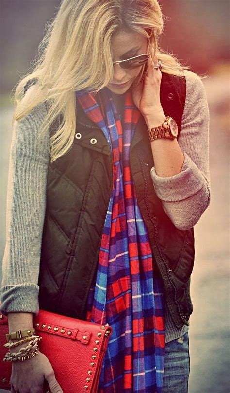 Adorable For Fall Flannel Scarf Puffer Vest And Sweater