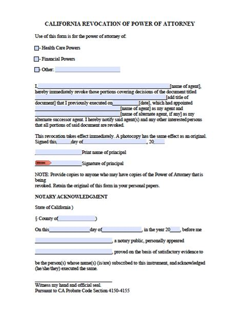 durable power of attorney form for california california durable financial power of attorney form