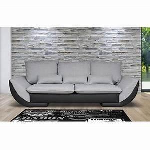 canape 3 places fixes en pu et tissu coloris achat With tapis de sol avec canapé 3 places fixe tissu