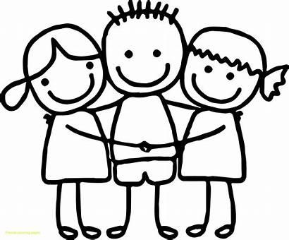Coloring Pages Hug Friends Hugging Boy Getdrawings