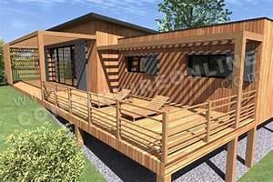 plan de maison bois chic et choc With plan maison bois sur pilotis