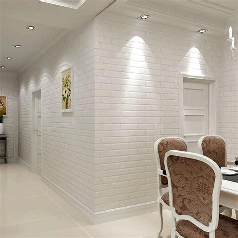 modern  brick wallpaper roll white thick  embossed