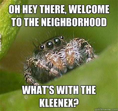 Memes About Spiders - oh hey there welcome to the neighborhood what s with the kleenex misunderstood spider