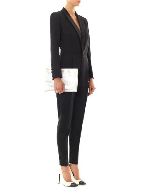 tuxedo jumpsuit laurent woolgabardine tuxedo jumpsuit in black lyst