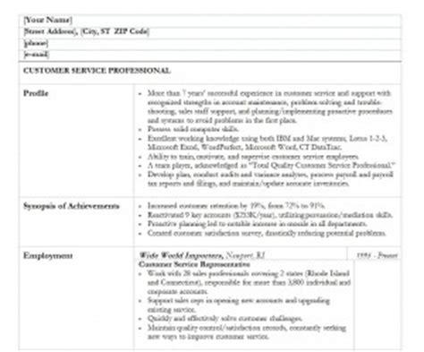 Customer Service Resume Exle by Customer Service Resume Template