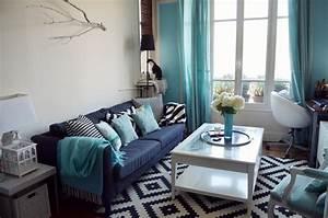 deco salon noir et blanc turquoise With nice quelle couleur avec le turquoise 7 deco salon prune et gris
