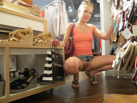 Topless In A Shoe Store