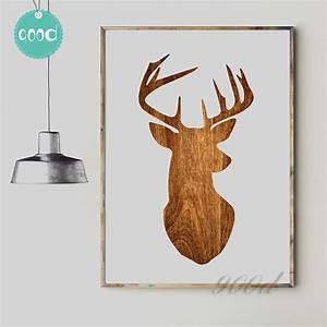 Aliexpress buy deer head wood print canvas art