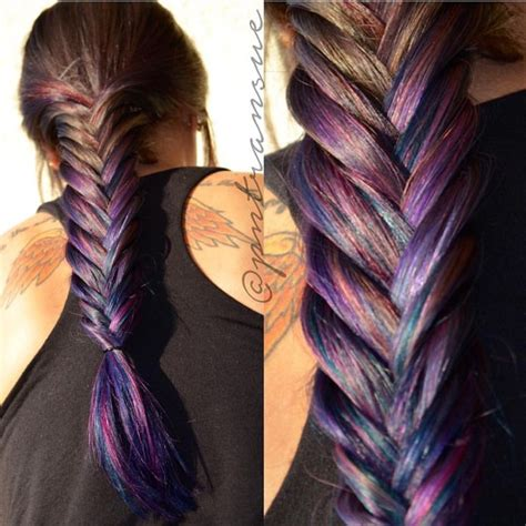 Messy Fishtail Braid And Rainbow Hair Color By Paige