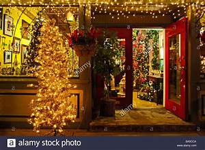 Store Front  Retail Shop With Out Door Christmas Tree And