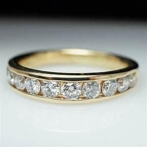 Vintage 96 mens diamond wedding band 14k yellow gold for Mens vintage wedding ring