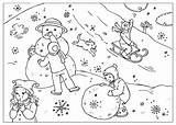 Coloring Winter Fun Pages sketch template