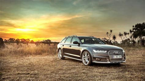 hd background audi  allroad side view sunset hdr car