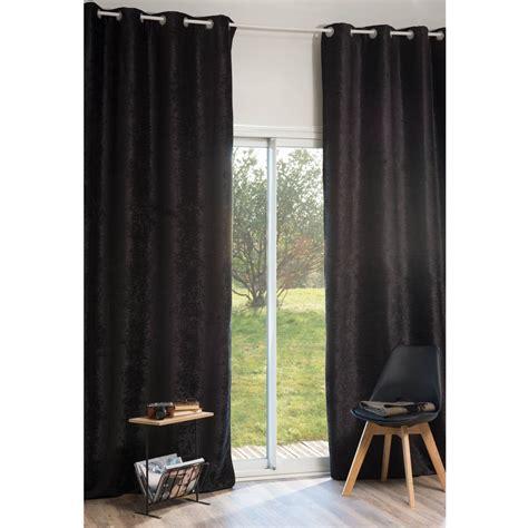 rideau 224 œillets en velours noir 140 x 300 cm vintage velvet belouga maisons du monde