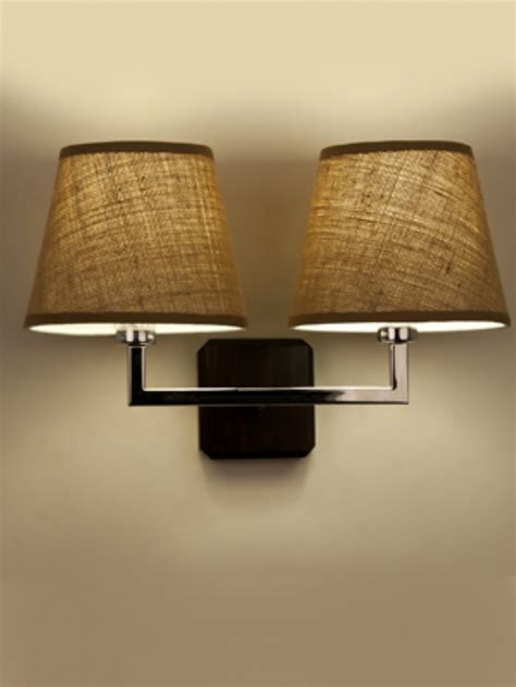 wall lights material shades chrome wall light with brown fabric shades