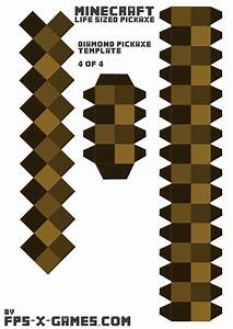 minecraft life sized diamond pickaxe printable papercraft With minecraft cut out templates