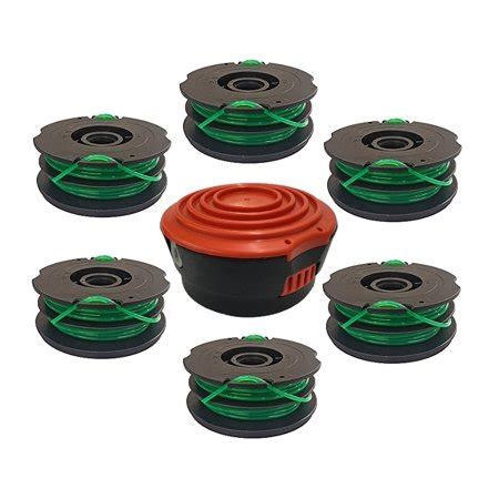 6 Replacement Afs Spools And Cap For Black And Decker Df